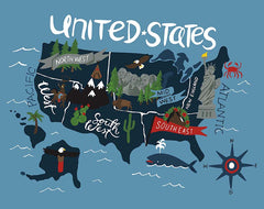 Celebrate America Blue United States Map Panel by Echo Park Paper Co. for Riley Blake Designs