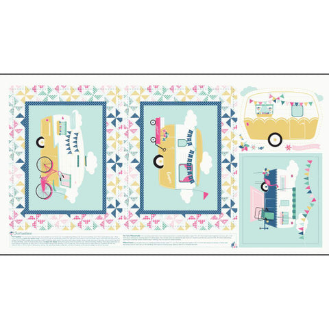 I'd Rather Be Glamping Blue Panel by Dani Mogstad for Riley Blake Designs