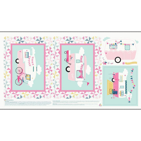 I'd Rather Be Glamping Pink Panel by Dani Mogstad for Riley Blake Designs