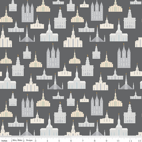 Called To Serve Charcoal Temple Yardage by Deena Rutter for Riley Blake Designs
