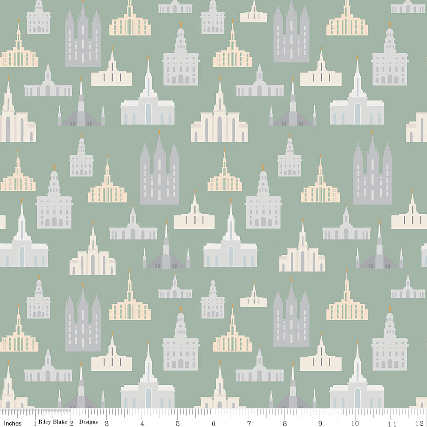 Called To Serve Sage Temple Yardage by Deena Rutter for Riley Blake Designs
