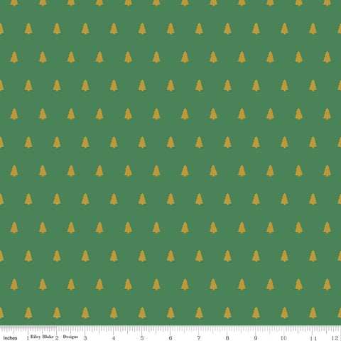 Santa Claus Lane Green Sparkle Trees Yardage by Melissa Mortenson for Riley Blake Designs