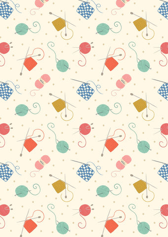 Small Things Cream Knitting And Crochet Yardage by Lewis & Irene Fabrics