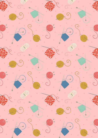 Small Things Pink Knitting And Crochet Yardage by Lewis & Irene Fabrics