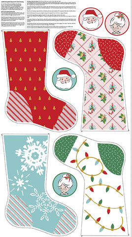 Santa Claus Lane Stocking Panel 1 by Melissa Mortenson for Riley Blake Designs
