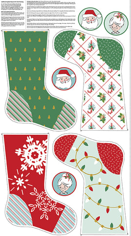 Santa Claus Lane Stocking Panel 2 Sparkle by Melissa Mortenson for Riley Blake Designs