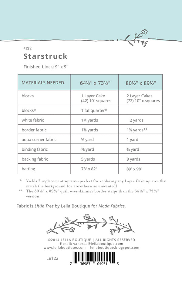 Starstruck Quilt Pattern by Lella Boutique