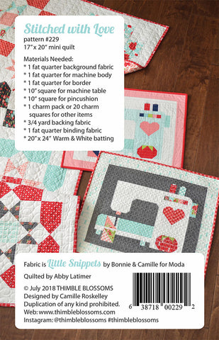 Stitched with Love Mini Quilt Pattern by Thimble Blossoms