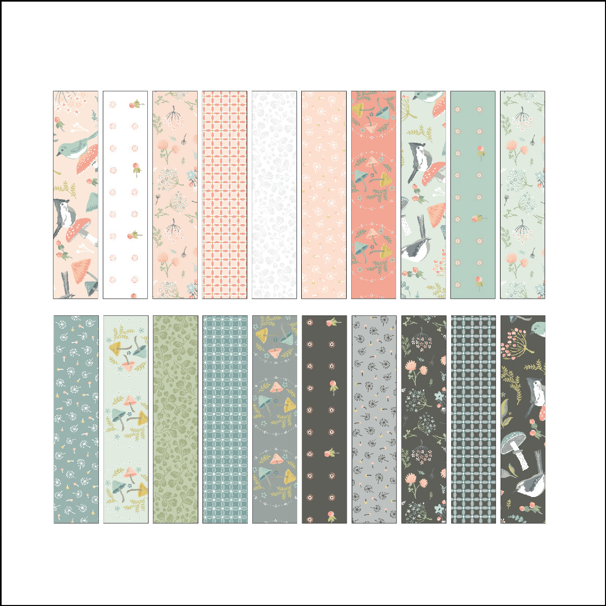 "Woodland Songbirds 2.5"" Strips by Lori Woods for Poppie Cotton Fabrics"