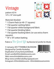 Vintage Mini Quilt Pattern by Thimble Blossoms