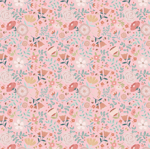 Goose Creek Gardens Pink Wildflower Yardage by Lori Woods for Poppie Cotton Fabrics