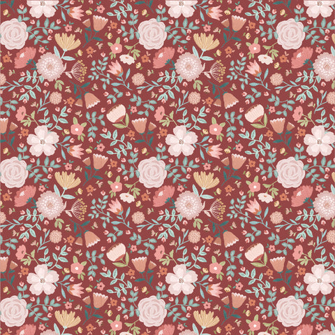 Goose Creek Gardens Red Wildflower Yardage by Lori Woods for Poppie Cotton Fabrics