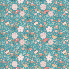 Goose Creek Gardens Teal Wildflower Yardage by Lori Woods for Poppie Cotton Fabrics