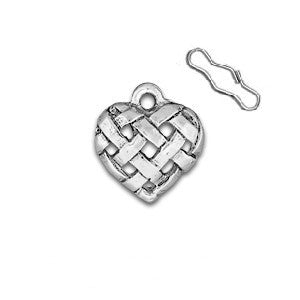 Woven Heart Zipper Pull or Sewing Charm