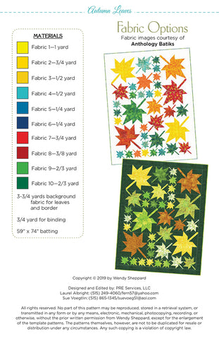 Autumn Leaves Quilt Pattern by Wendy Sheppard