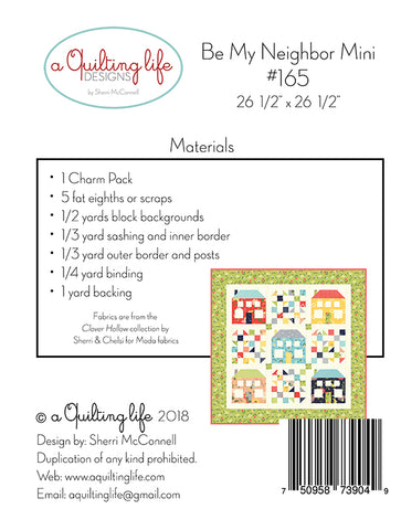 Be My Neighbor Mini Quilt Pattern by Sherri McConnell of A Quilting Life Designs