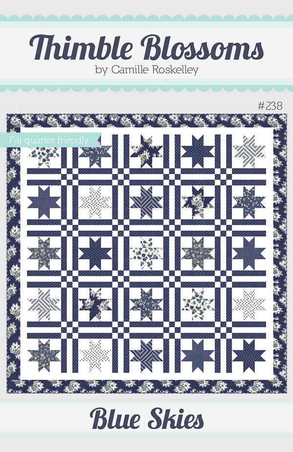 Blue Skies Quilt Pattern by Thimble Blossoms for Moda Fabrics.