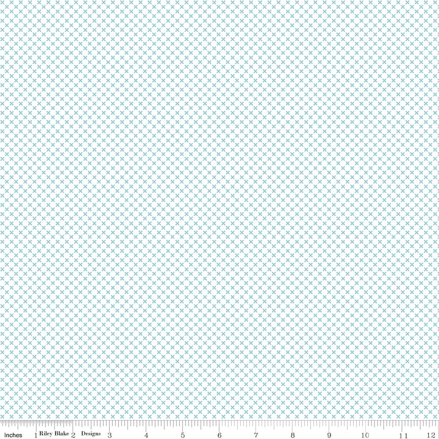 Kisses Aqua on White Yardage by Riley Blake Designs