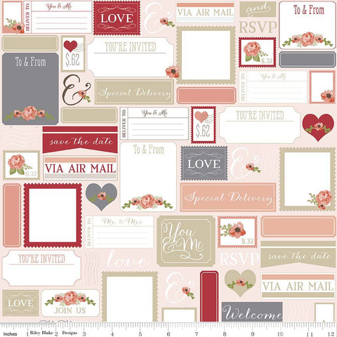 Rustic Elegance Peach Rustic Postcards Yardage by Carta Bella for Riley Blake