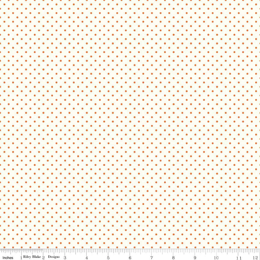 Le Creme Dots Orange Yardage by Riley Blake Designs