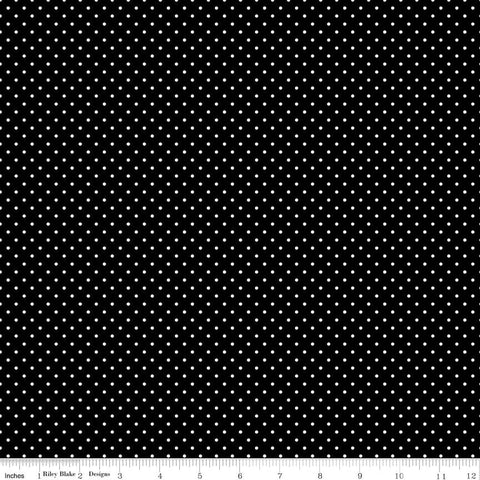 Swiss Dot White on Black Yardage by Riley Blake Designs
