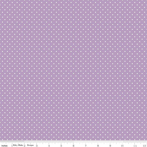 Swiss Dot White on Lavender Yardage by Riley Blake Designs
