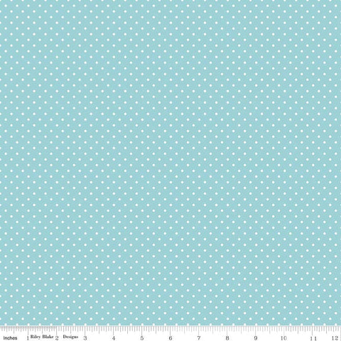Swiss Dot White on Aqua Yardage by Riley Blake Designs