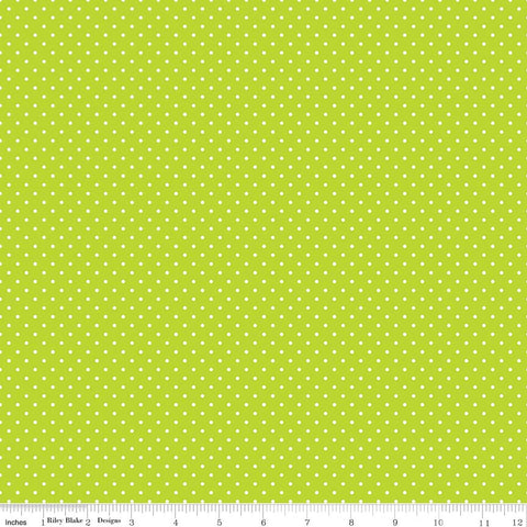 Swiss Dot White on Lime Yardage by Riley Blake Designs