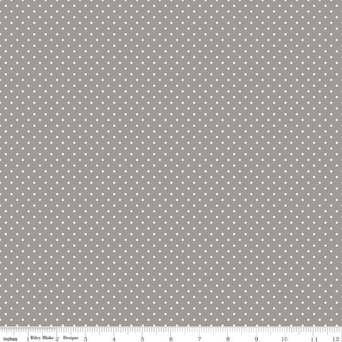 Swiss Dot White on Gray Yardage by Riley Blake Designs