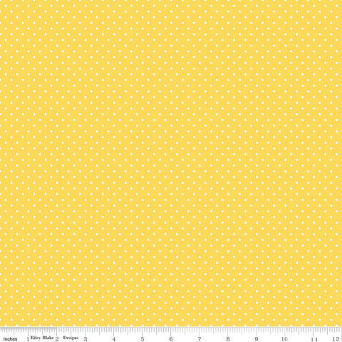 Swiss Dot White on Yellow Yardage by Riley Blake Designs