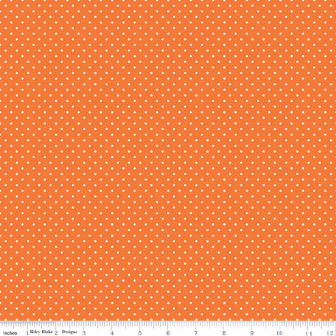 Swiss Dot White on Orange Yardage by Riley Blake Designs