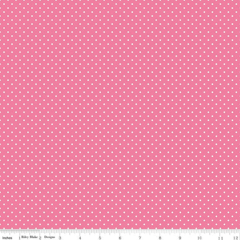 Swiss Dot White on Hot Pink Yardage by Riley Blake Designs