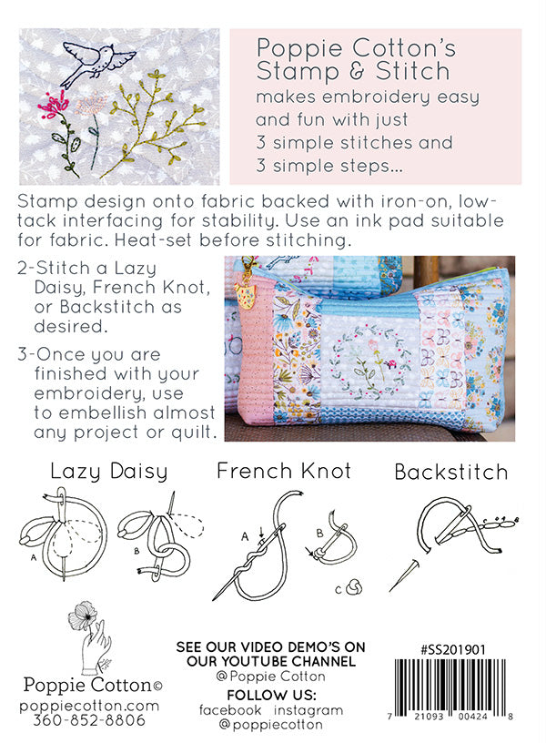 Stamp and Stitch Heartfelt Hexie Collection by Poppie Cotton
