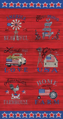 Land That I Love Patriotic Red Panel by Deb Strain for Moda Fabrics