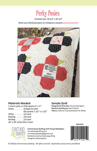 Perky Posies Pillow Pattern by Carried Away Quilting