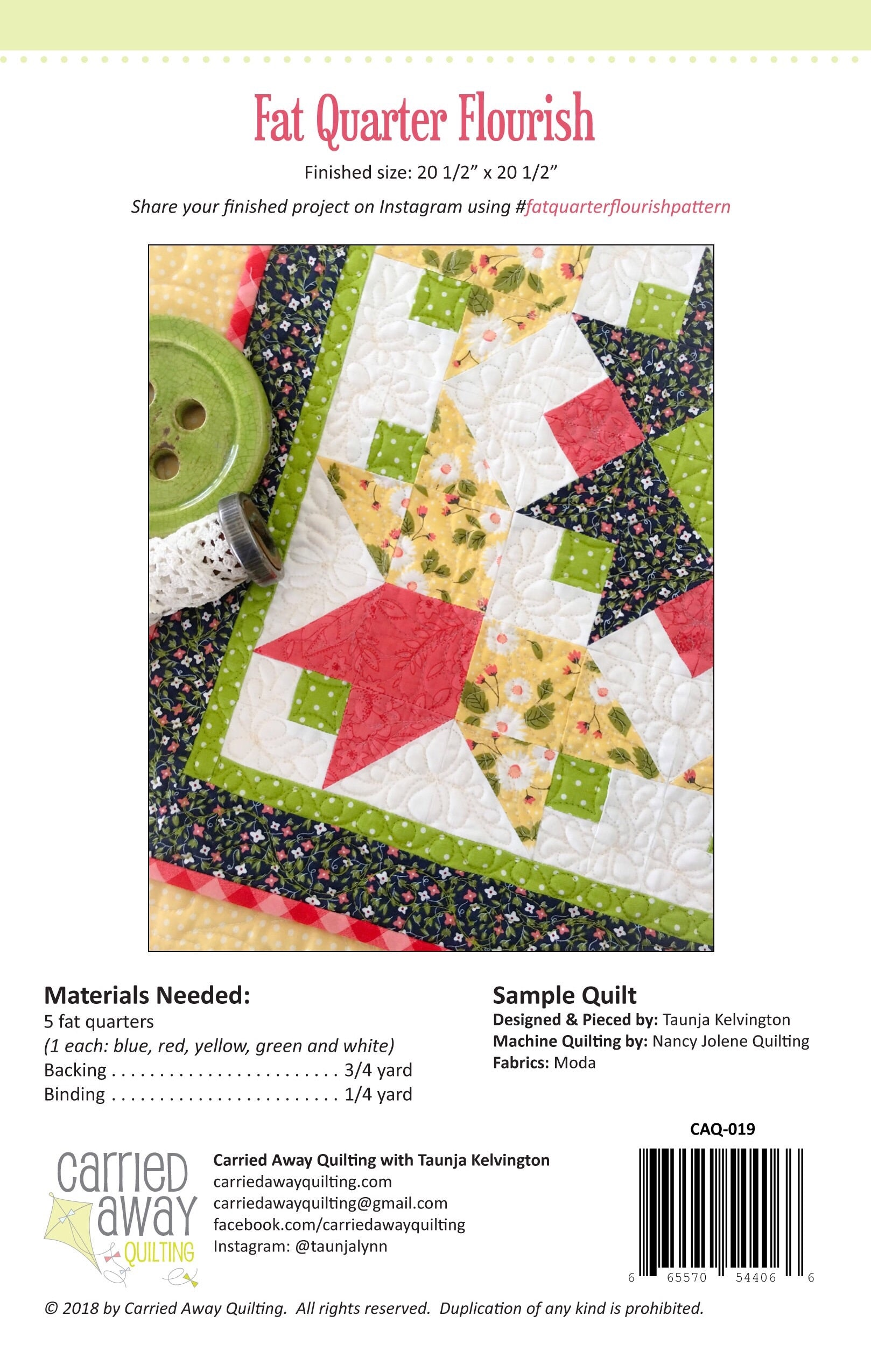 Fat Quarter Flourish Mini Quilt Pattern By Taunja Kelvington Of
