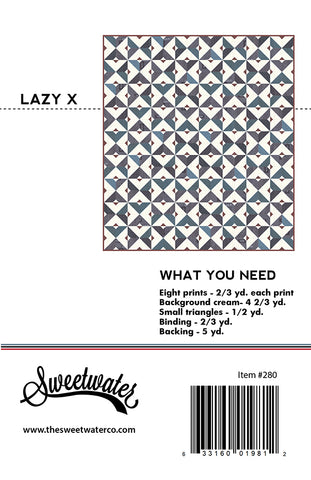 Lazy X Quilt Pattern by Sweetwater