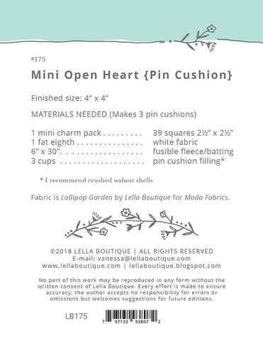 Mini Open Heart Pin Cushion Pattern by Lella Boutique