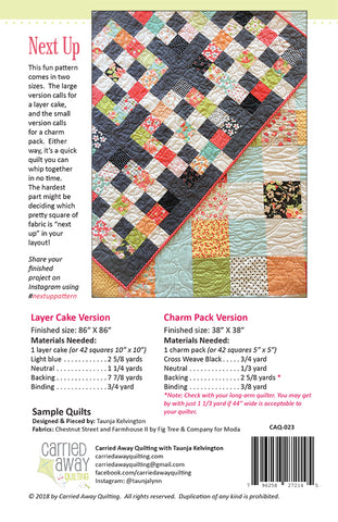 Next Up Quilt Pattern by Taunja Kelvington of Carried Away Quilting