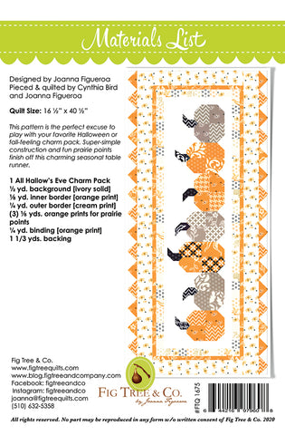 Pumpkins In A Row Table Runner Pattern by Fig Tree & Co