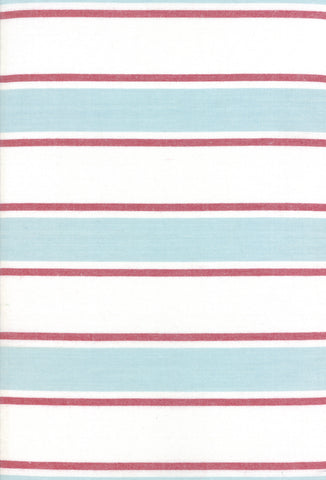 Rock Pool Toweling Seaglass Aqua Red Stripe yardage by Pieces to Treasure for Moda Fabrics