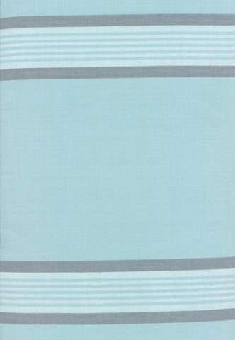 Rock Pool Toweling Seaglass Aqua Grey Stripe yardage by Pieces to Treasure for Moda Fabrics