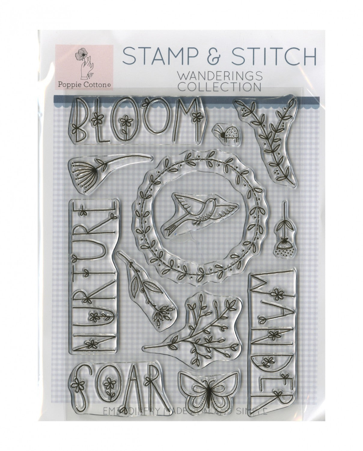 Stamp and Stitch Wanderings Collection by Poppie Cotton