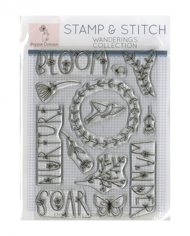 Stamp and Stitch Wanderings embroidery Stamp by Poppie Cotton