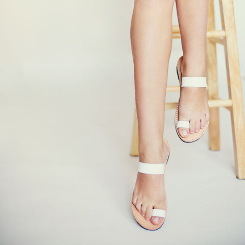 White toe ring sandals
