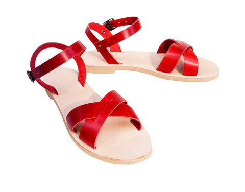 Casual leather sandals in red