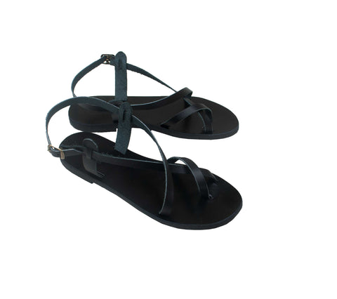 Toe wrapper double leather sandals in black