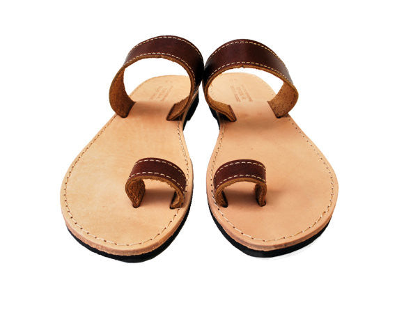 Brown toe ring stylish sandals