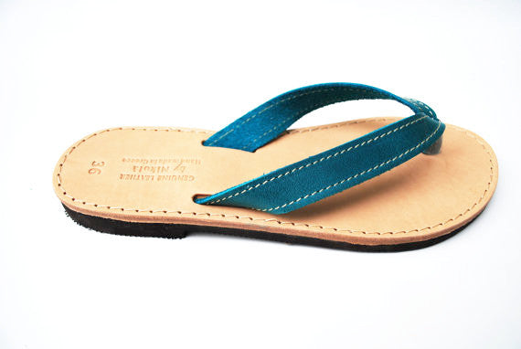 Greek blue flip flops