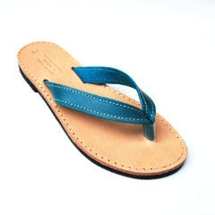Flip flops in blue side view